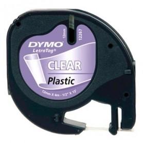 Dymo originální páska do tiskárny štítků, Dymo, 12267, S0721530, černý tisk/průhledný podklad, 4m, 12mm, LetraTag plastová páska