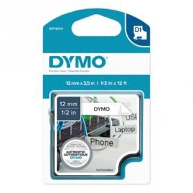 Dymo originální páska do tiskárny štítků, Dymo, 16957, S0718040, černý tisk/bílý podklad, 3.5m, 12mm, D1 speciální - flexibilní