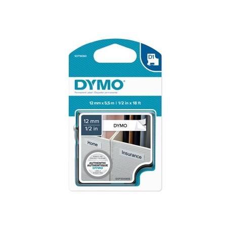 Dymo originální páska do tiskárny štítků, Dymo, 16959, S0718060, černý tisk/bílý podklad, 5.5m, 12mm, D1, speciální - permanentn