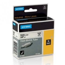 Dymo originální páska do tiskárny štítků, Dymo, 18053, S0718280, černý tisk/bílý podklad, 1,5m, 9mm, RHINO plochá smršťovací buž