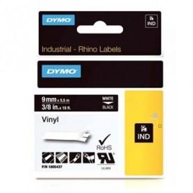 Dymo originální páska do tiskárny štítků, Dymo, 1805437, bílý tisk/černý podklad, 5,5m, 9mm, RHINO vinylová profi D1