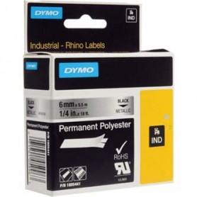 Dymo originální páska do tiskárny štítků, Dymo, 1805441, černý tisk/metalický podklad, 5.5m, 6mm, RHINO permanentní polyesterová