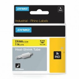 Dymo originální páska do tiskárny štítků, Dymo, 1805444, černý tisk/žlutý podklad, 1,5m, 24mm, RHINO plochá smršťovací bužírka D