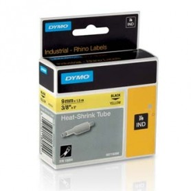 Dymo originální páska do tiskárny štítků, Dymo, 18054, S0718290, černý tisk/žlutý podklad, 1,5m, 9mm, RHINO plochá smršťovací bu