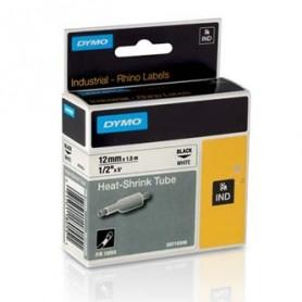 Dymo originální páska do tiskárny štítků, Dymo, 18055, S0718300, černý tisk/bílý podklad, 1,5m, 12mm, RHINO plochá smršťovací bu