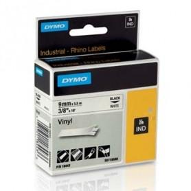 Dymo originální páska do tiskárny štítků, Dymo, 18443, S0718580, černý tisk/bílý podklad, 5.5m, 9mm, RHINO vinylová profi D1