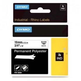 Dymo originální páska do tiskárny štítků, Dymo, 18484, černý tisk/bílý podklad, 5.5m, 19mm, RHINO permanentní polyesterová D1