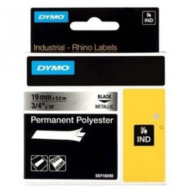 Dymo originální páska do tiskárny štítků, Dymo, 18487, černý tisk/metalický podklad, 5.5m, 19mm, RHINO permanentní polyesterová
